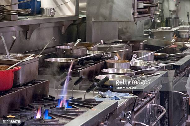 Commercial kitchen with gas stoves