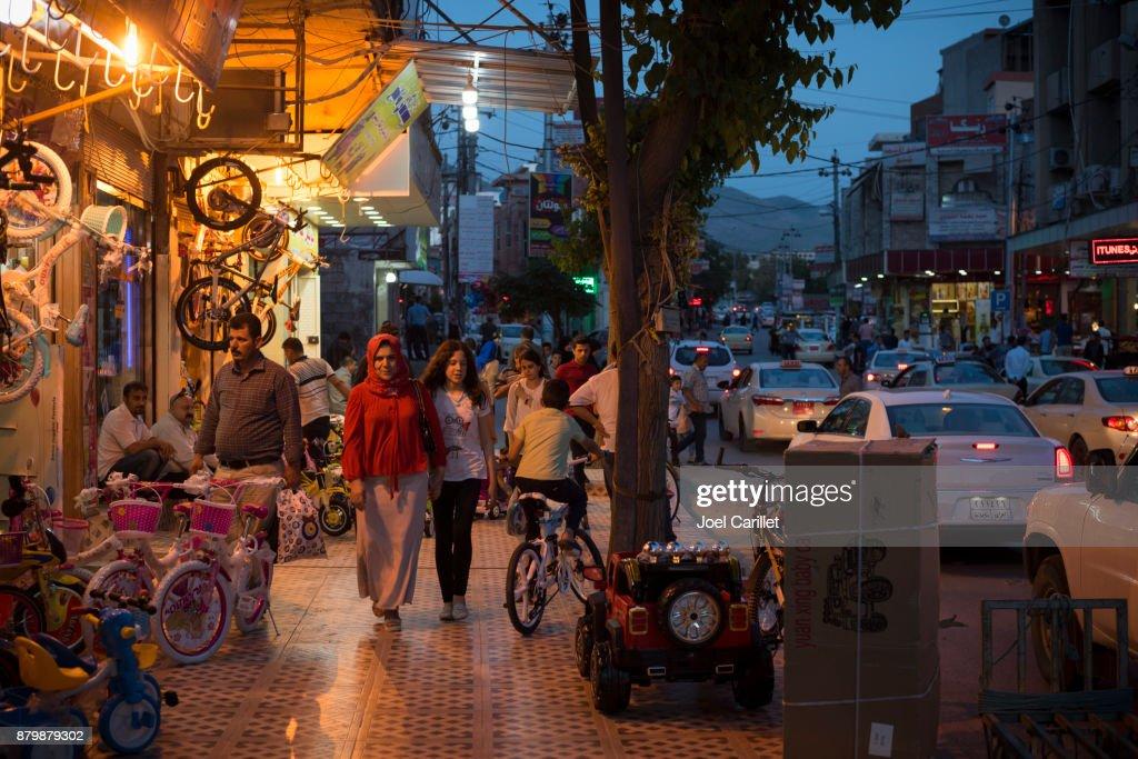 Commercial life in Kurdish city of Sulaymaniyah, Iraq : Stock Photo