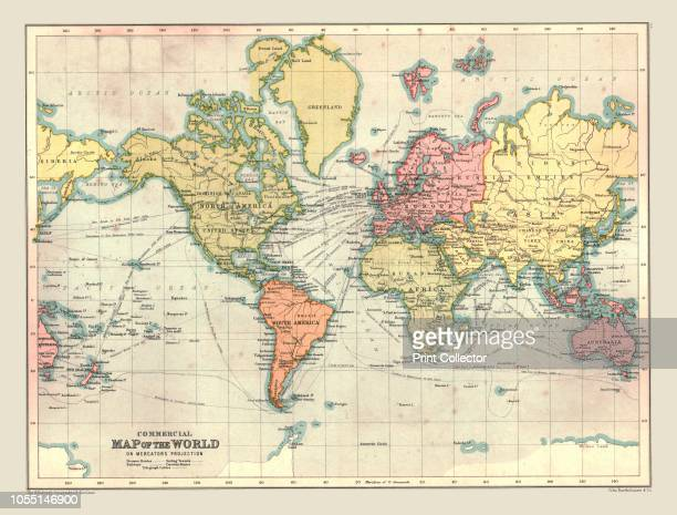 Commercial Map of the World, 1902. With shipping routes. From The Century Atlas of the World. [John Walker & Co, Ltd., London, 1902]. Artist Unknown.