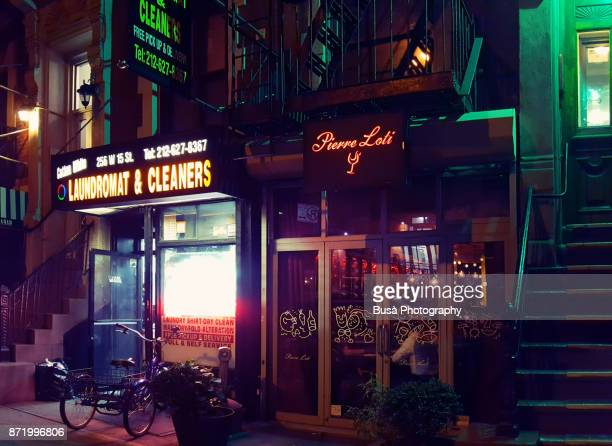 Commercial neon signs in a side street of Chelsea in Lower Manhattan, New York City
