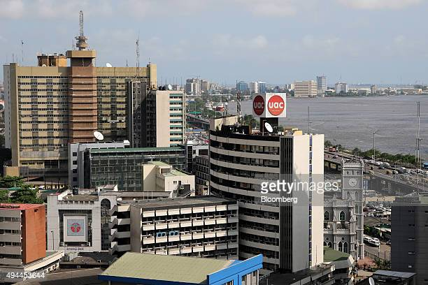Commercial offices stand on the city skyline beside the Ogun river in Lagos Nigeria on Monday Oct 26 2015 Nigeria plans to create a $25 billion fund...