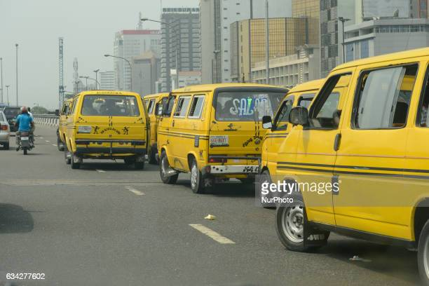 Commercial Yellow Buses, popularly known as Danfo, on top of bridge at Marina, Lagos, Nigeria on Tuesday February 7 2017. Lagos State Government has...