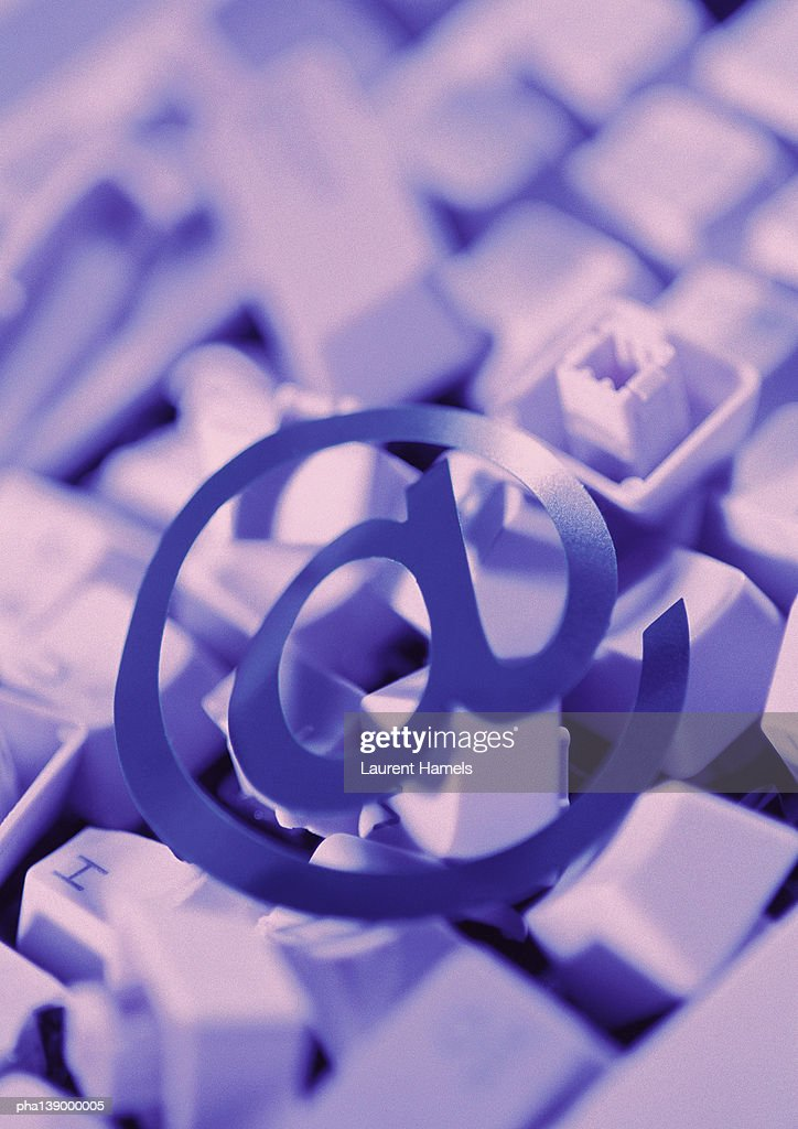 Commercialat Symbol Computer Keyboard Keys In Background Stock Photo