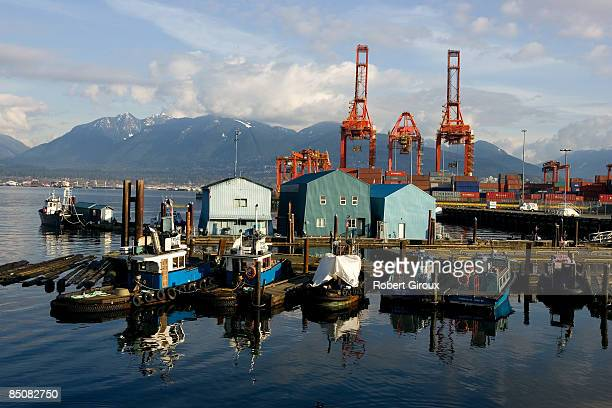 Commerical service boats line up at dock February 18 2009 in Vancouver British Columbia Canada Vancouver is the host city for the 2010 Winter Olympic...