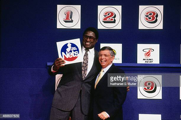 Commisioner David Stern and general manager and vice president of basketball operations Willis Reed of the New Jersey Nets during the 1990 NBA Draft...