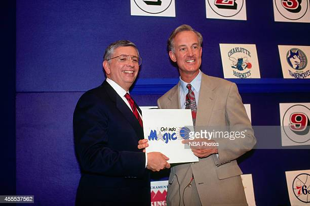Commisioner David Stern and vice president Pat Williams of the Orlando Magic during the 1992 NBA Draft Lottery held in Secaucus New Jersey NOTE TO...