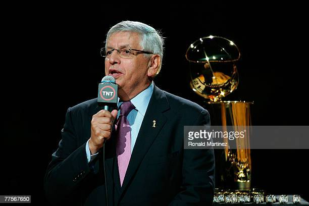 Commisioner David Stern speaks in front of the 2007 Larry O'Brien NBA Championship trophy during a ceremony for the San Antonio Spurs before a game...