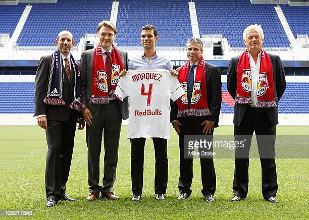Commisioner Don Garber, Head of Red Bull Global Soccer Dietmar Beiersdorfer, Rafa Marquez, Managing Director Erik Soler and head coach Hans Backe...