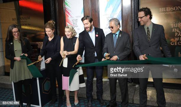 Commisioner Julie Menin Annaleigh Ashford Jake Gyllenhaal Kwek Leng Beng and Eric Paris attend the Hudson Theatre reopening ribbon cutting at Hudson...