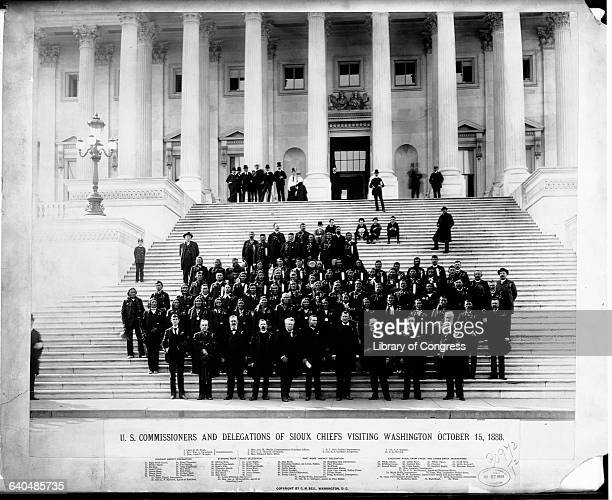 US Commisioners and a delegation of Sioux chiefs pose on the steps of the US Capitol October 13 1888