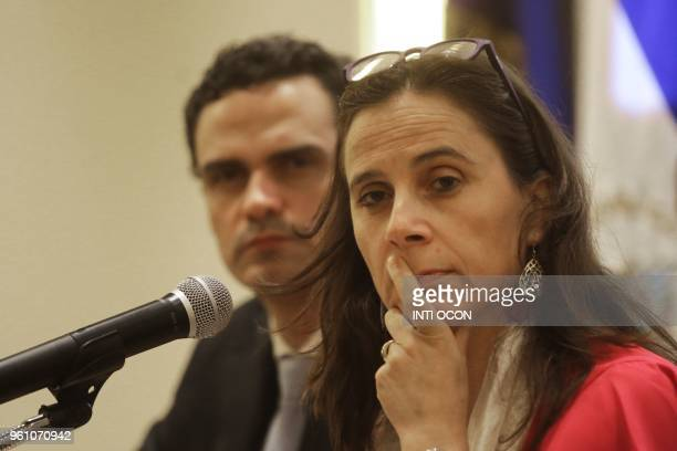 Commisioners of the InterAmerican Commission on Human Rights of the Organization of American States Antonia Urrejola and Paolo Abrao talk to...