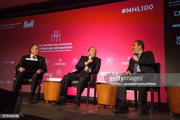 Commisisoner Gary Bettman along with Montreal Canadiens owner Geoff Molson speaks during a QA with host Pierre Houde part of the NHL Centennial 100...