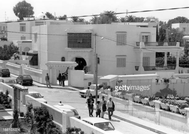Commissaires surrounding the house where Khalil AlWazir also known as Abu Jihad number two man in the Palestine Liberation Organization after Yasser...