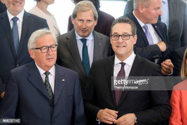 Commission and the Austrian government are posing for a family photo during a visit in the Berlaymont the EU Commission headquarters on June 6 2018...