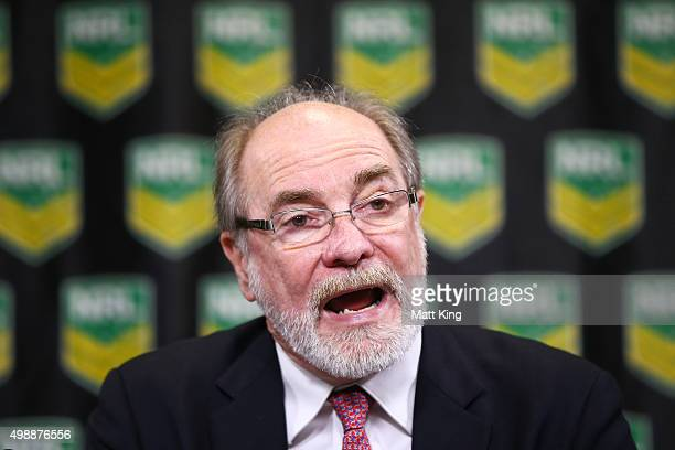 Commission Chairman John Grant speaks during a NRL media announcement at Rugby League Central on November 27 2015 in Sydney Australia