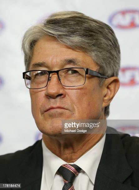 Commission Chairman Mike Fitzpatrick speaks at the media conference for the Essendon Bombers AFL Commission Hearing at AFL House on August 27 2013 in...