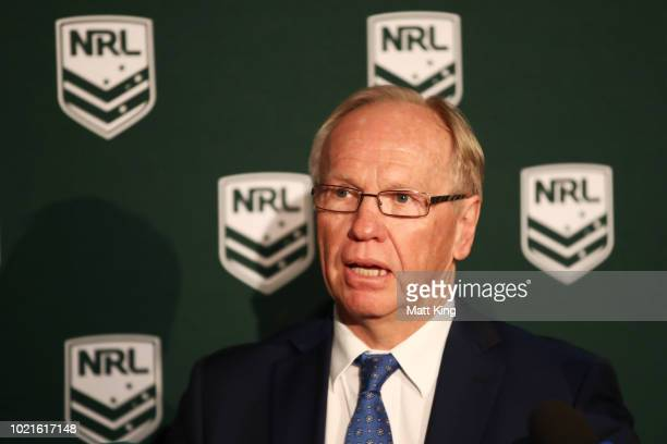 Commission Chairman Peter Beattie speaks to the media during a NRL Media opportunity in recognition of the NRL becoming the first national sporting...