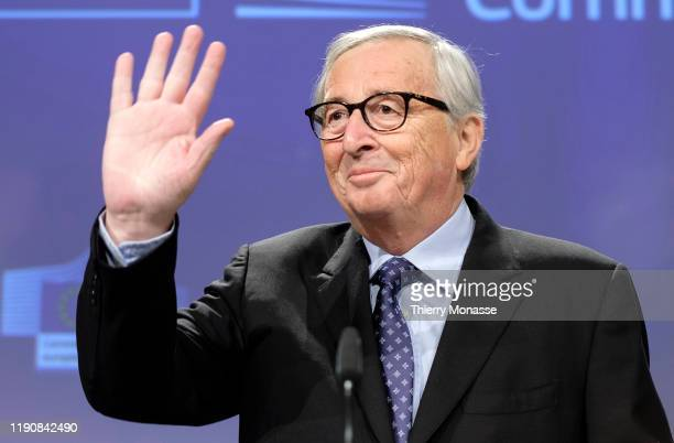 Commission President Jean-Claude Juncker gestures during his last press conference in the Berlaymont, the European Commission headquarters, on...