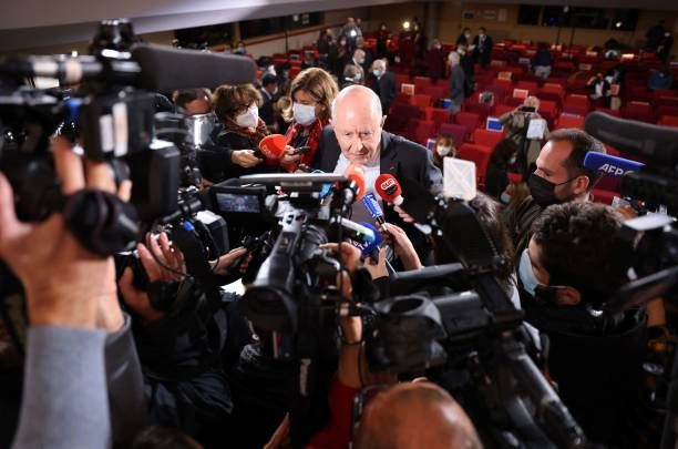 Commission president Jean-Marc Sauve speaks to the press during the publishing of a report by an independant commission into sexual abuse by church...