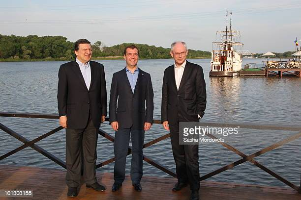 EU Commission President Jose Manuel Barroso Russian President Dmitry Medvedev and EU President Belgian Prime Minister Herman van Rompuy pose prior to...