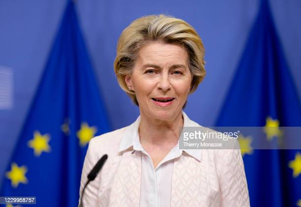 Commission President Ursula von der Leyen delivers a statement on the ongoing Brexit negotiations on December 5, 2020 in Brussels, Belgium. Current...