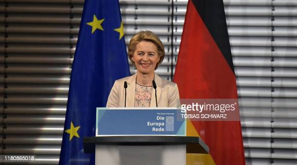 Commission president-elect Ursula von der Leyen makes a speech on eve of 30th anniversary of the fall of Berlin Wall in Berlin on November 8, 2019.