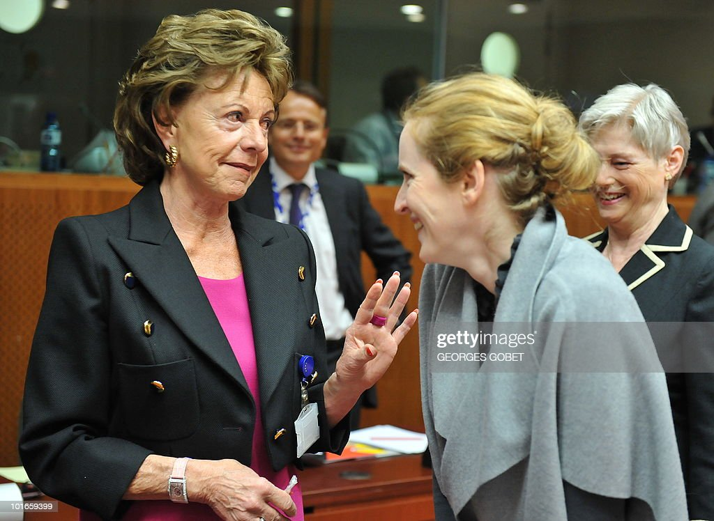 EU Commission Vice President Neelie Kroes (L) and Fench Digital Economy Secretary of State Nathalie Kosciusko-Morizet chat on May 31, 2010 before a Telecommunications Council meeting at EU headquarters in Brussels.