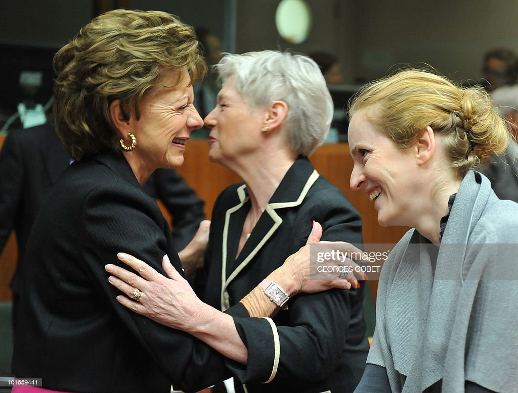 EU Commission Vice President Neelie Kroes (L), Dutch Economic Affairs Minister Maria van der Hoeven (C) and Fench Digital Economy Secretary of State Nathalie Kosciusko-Morizet laugh on May 31, 2010 before a Telecommunications Council meeting at EU headquarters in Brussels.