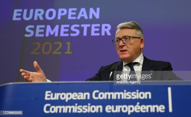 Commission Vice-President Valdis Dombrovskis, EU Commissioner for Jobs and Social Rights Nicolas Schmit and European Economy Commissioner Paolo...