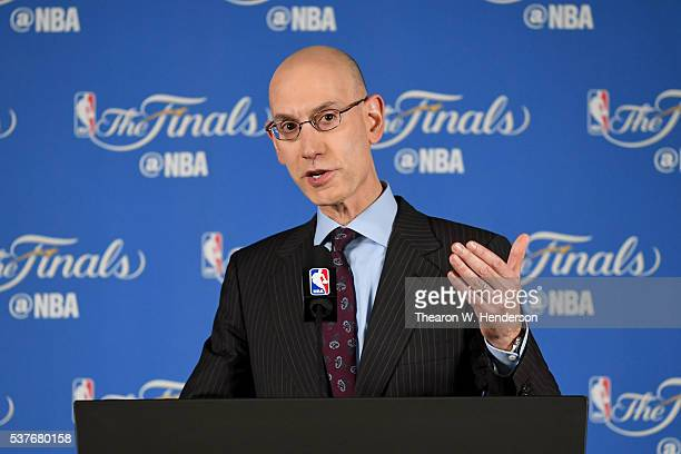 Commissioner Adam Silver addresses the media before Game 1 of the 2016 NBA Finals at ORACLE Arena on June 2 2016 in Oakland California The Cleveland...