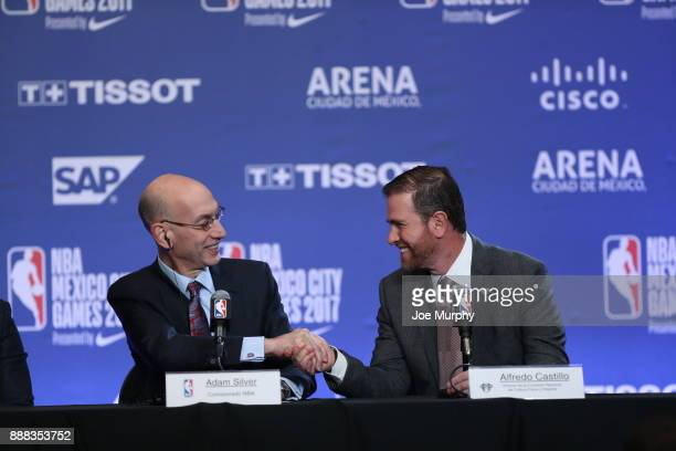 Commissioner Adam Silver along with Alfredo Castillo Director of the National Finance and Sports and Culture during a press conference prior to of...