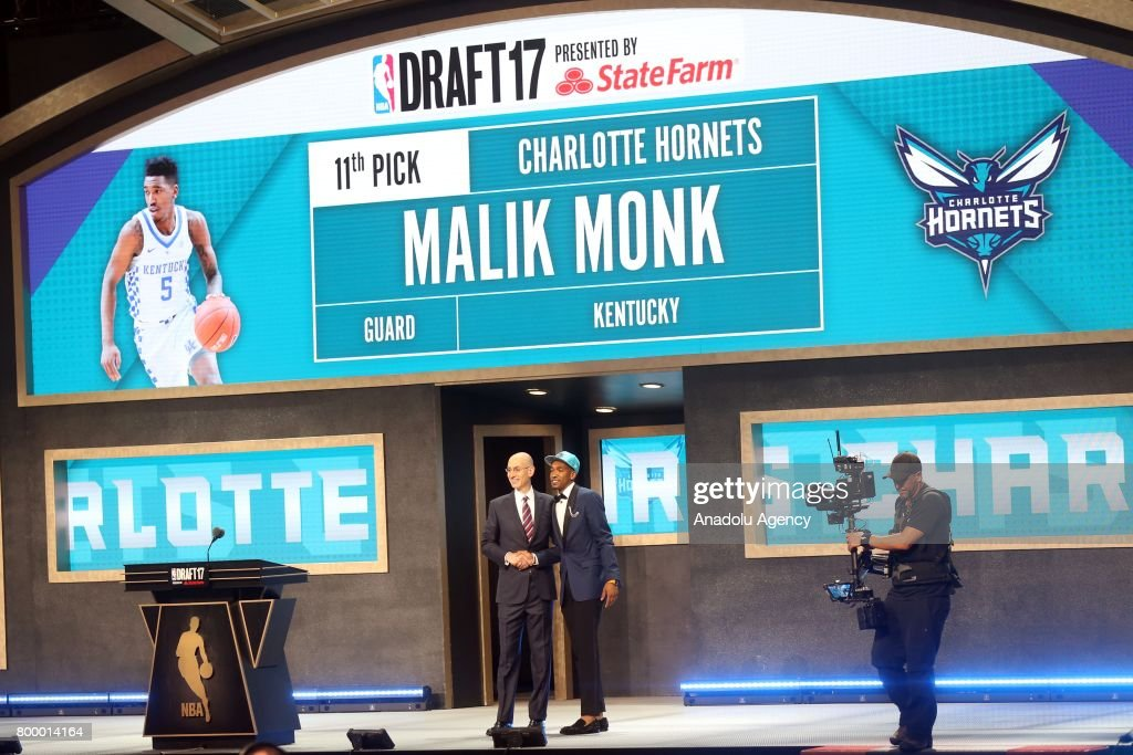 NBA commissioner Adam Silver (L) and Charlotte Hornets' pick Malik Monk (R) during Draft 2017 in Barclays Center in Brooklyn borough of New York, United States on June 22, 2017.