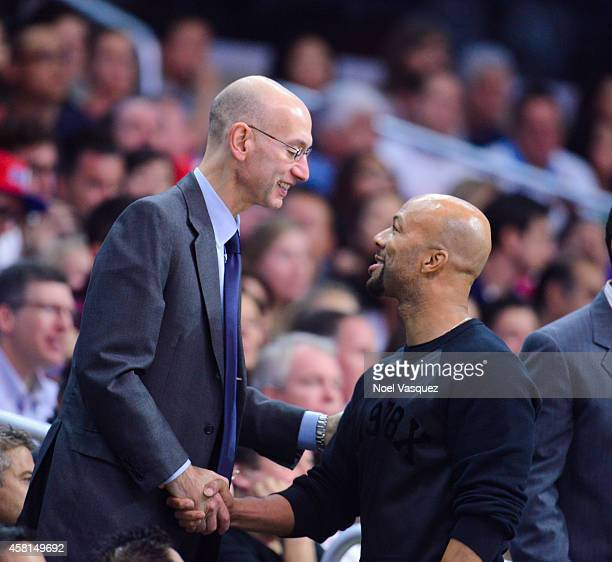 Commissioner Adam Silver and Common attend an basketball game between the Oklahoma City Thunder and the Los Angeles Clippers at Staples Center on...