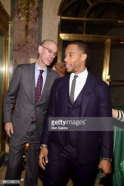 Commissioner Adam Silver and NFL wide receiver Victor Cruz attend the Sandy Hook Promise 5 Year Remembrance Benefit at The Plaza Hotel on December 12...