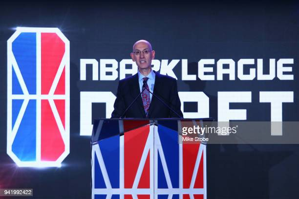 Commissioner Adam Silver anounces the overall pick in the first during NBA 2K League Draft at Madison Square Garden on April 4 2018 in New York City