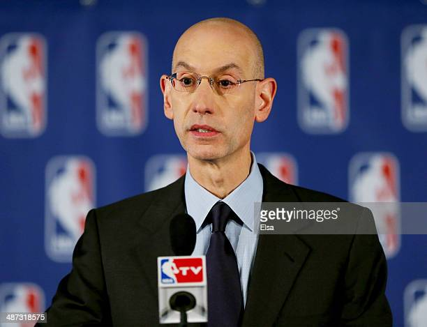 Commissioner Adam Silver holds a press conference to discuss Los Angeles Clippers owner Donald Sterling at the Hilton Hotel on April 29 2014 in New...