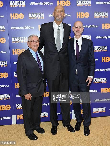 NBA Commissioner Adam Silver Kareem Abdul Jabbar and David Stern attend the Kareem Minority Of One New York Premiere at Time Warner Center on October...