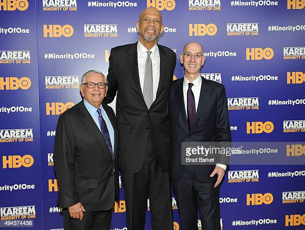 NBA Commissioner Adam Silver Kareem Abdul Jabbar and David Stern attend the 'Kareem Minority Of One' New York Premiere at Time Warner Center on...