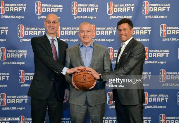 NBA Commissioner Adam Silver Managing Director of 2K League Brendan Donohue Strauss Zelnick CEO of TakeTwo Interactive poses for a photo prior to the...