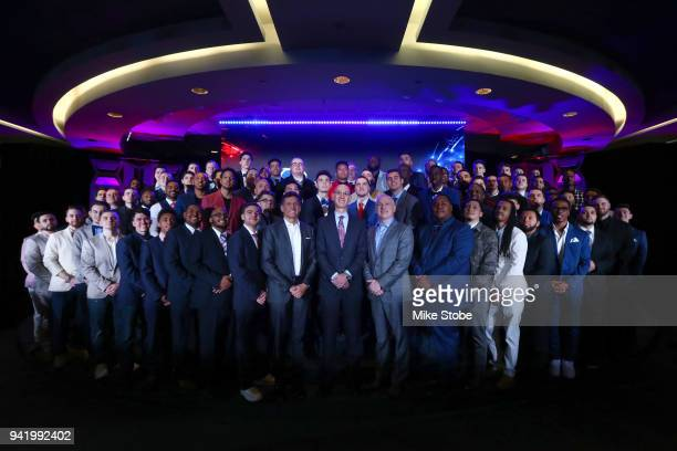 NBA Commissioner Adam Silver NBA 2K League Managing Director Brendan Donohue and TakeTake Interactive CEO Strauss Zelnick poses for a photo with the...