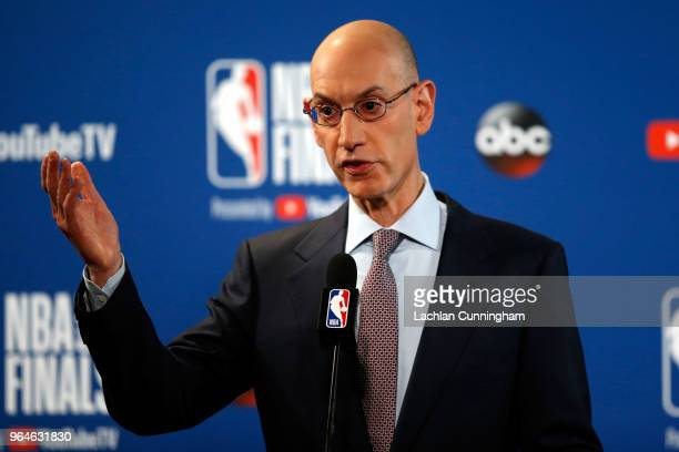 Commissioner Adam Silver of the NBA addresses the media before Game 1 of the 2018 NBA Finals at ORACLE Arena between the Golden State Warriors and...