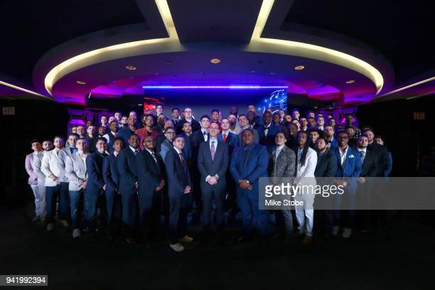 Commissioner Adam Silver poses for a photo with the 2018 NBA 2K League Draft class at Madison Square Garden on April 4 2018 in New York City