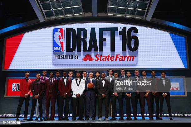 Commissioner Adam Silver poses for a photo with the top prospects before the start of the first round of the 2016 NBA Draft at the Barclays Center on...