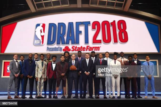 Commissioner Adam Silver poses with Donte DiVincenzo Jerome Robinson Mikal Bridges Kevin Knox Shai GilgeousAlexander Wendell Carter Jr Collin Sexton...