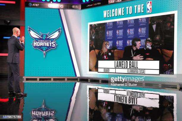 Commissioner, Adam Silver reacts to the Charlotte Hornets number three overall pick of Lamelo Ball during the 2020 NBA Draft on November 18, 2020 in...