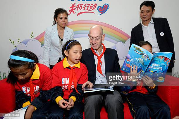 Commissioner Adam Silver reads at the New Orleans Pelicans NBA Cares Learn and Play Center Dedication part of the 2016 Global Games China at...