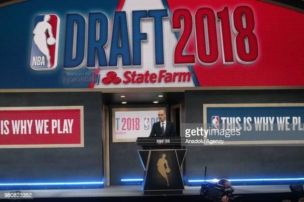 Commissioner Adam Silver speaks ahead of the 2018 NBA Draft at the Barclays Center on June 21 2018 in the Brooklyn borough of New York United States
