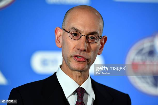 NBA commissioner Adam Silver speaks during a press conference prior to the NBA match between Indiana Pacers and Denver Nuggets at the O2 Arena on...