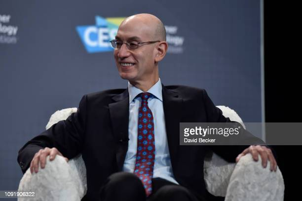 Commissioner Adam Silver speaks during a press event at CES 2019 at the Aria Resort Casino on January 9 2019 in Las Vegas Nevada CES the world's...