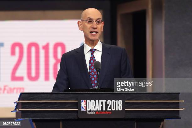 Commissioner Adam Silver speaks during the 2018 NBA Draft at the Barclays Center on June 21 2018 in the Brooklyn borough of New York City NOTE TO...